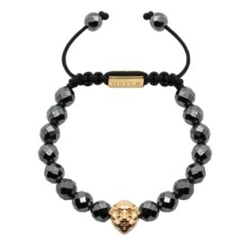 10mm Faceted Hematite Lion Gold