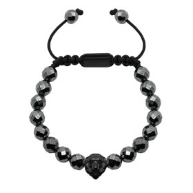 10mm Faceted Hematite Lion Matt Black
