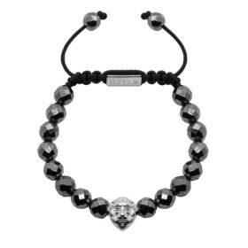 10mm Faceted Hematite Lion Silver