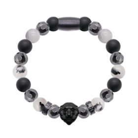 Rutilated Quartz, Onyx, Faceted Hematite - Black