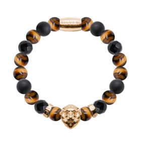 Yellow Tiger, Onyx, Faceted Black Agate - Gold