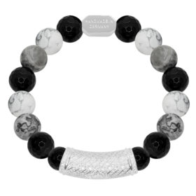 10MM Imperator - Gray Jasper, Howlite, Black Agate