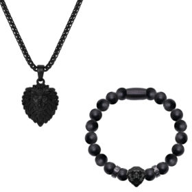 Lion Necklace x Onyx Matt Black